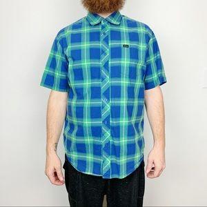 RVCA Plaid Button Down Shirt Size Large